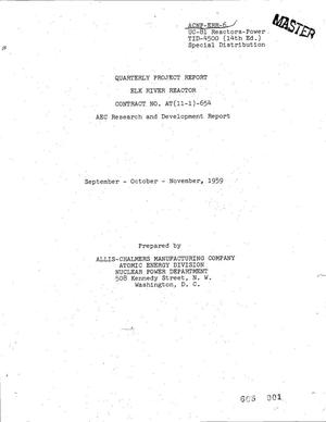Primary view of object titled 'ELK RIVER REACTOR QUARTERLY PROJECT REPORT FOR SEPTEMBER-OCTOBER-NOVEMBER 1959'.