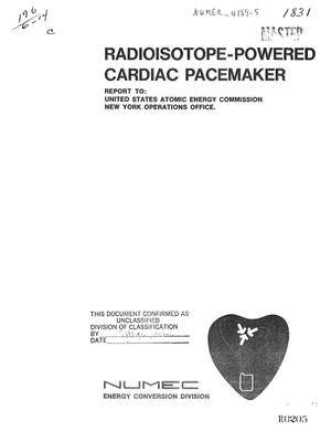 Primary view of object titled 'RADIOISOTOPE POWERED CARDIAC PACEMAKER PROGRAM. Phase II. Quarterly Progress Report, February 1, 1971--April 30, 1971.'.