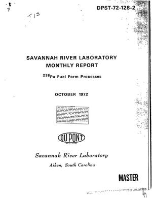 Primary view of object titled 'Savannah River Laboratory monthly report: $sup 238$Pu fuel form processes'.