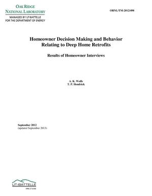 Primary view of object titled 'HOMEOWNER DECISION MAKING AND BEHAVIOR RELATING TO DEEP HOME RETROFITS - Results of Homeowner Interviews'.