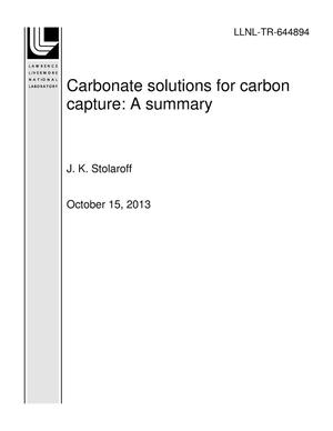 Primary view of object titled 'Carbonate solutions for carbon capture: A summary'.
