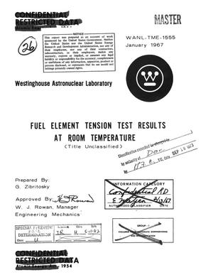Primary view of object titled 'Fuel element tension test results at room temperature'.