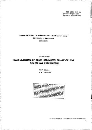 Primary view of object titled 'Calculations of Fluid Stemming Behavior for Cratering Experiments.'.