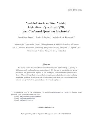 Primary view of object titled 'Modified Anti-de-Sitter Metric, Light-Front Quantized QCD, and Conformal Quantum Mechanics'.