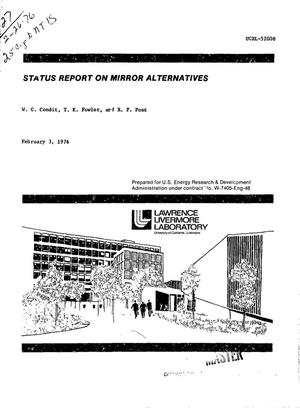 Primary view of object titled 'Status report on mirror alternatives'.