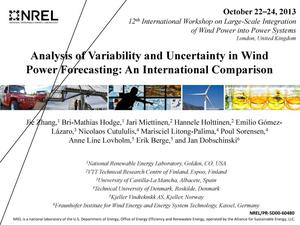 Primary view of object titled 'Analysis of Variability and Uncertainty in Wind Power Forecasting: An International Comparison (Presentation)'.