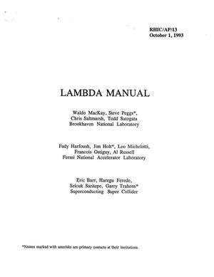Primary view of object titled 'LAMBDA MANUAL'.