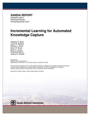 Primary view of object titled 'Incremental learning for automated knowledge capture.'.