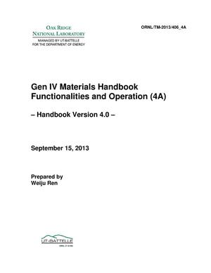 Primary view of object titled 'Gen IV Materials Handbook Functionalities and Operation (4A) Handbook Version 4.0'.