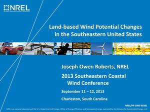Primary view of object titled 'Land-Based Wind Potential Changes in the Southeastern United States (Presentation)'.