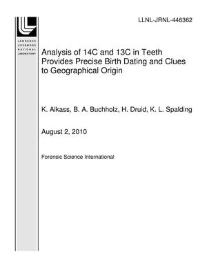 Primary view of object titled 'Analysis of 14C and 13C in Teeth Provides Precise Birth Dating and Clues to Geographical Origin'.