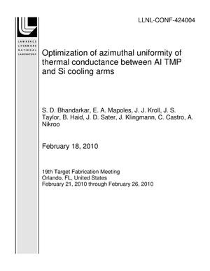 Primary view of object titled 'Optimization of azimuthal uniformity of thermal conductance between AI TMP and Si cooling arms'.