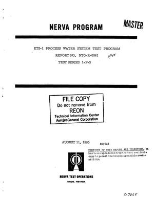 Primary view of object titled 'ETS-1 process water system test program report'.