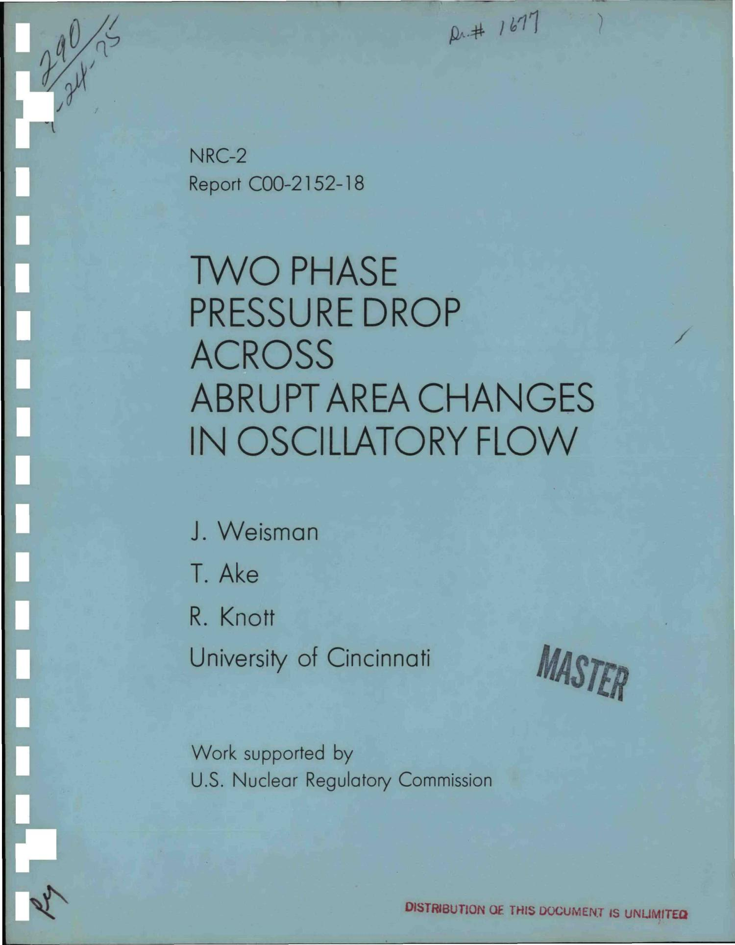 Two phase pressure drop across abrupt area changes in oscillatory flow                                                                                                      [Sequence #]: 1 of 76