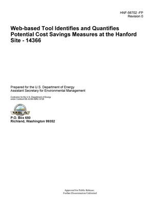 Primary view of object titled 'Web-based Tool Identifies and Quantifies Potential Cost Savings Measures at the Hanford Site - 14366'.
