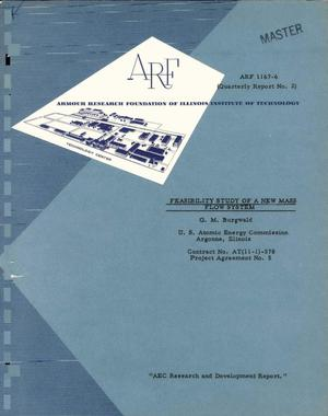 Primary view of object titled 'FEASIBILITY STUDY OF A NEW MASS FLOW SYSTEM. Quarterly Report No. 2 Covering the Period from September 1 to November 30, 1960'.
