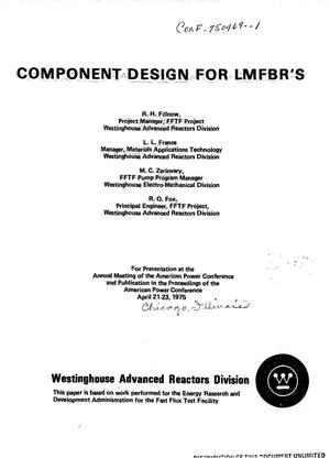 Primary view of object titled 'Component design for LMFBR's'.