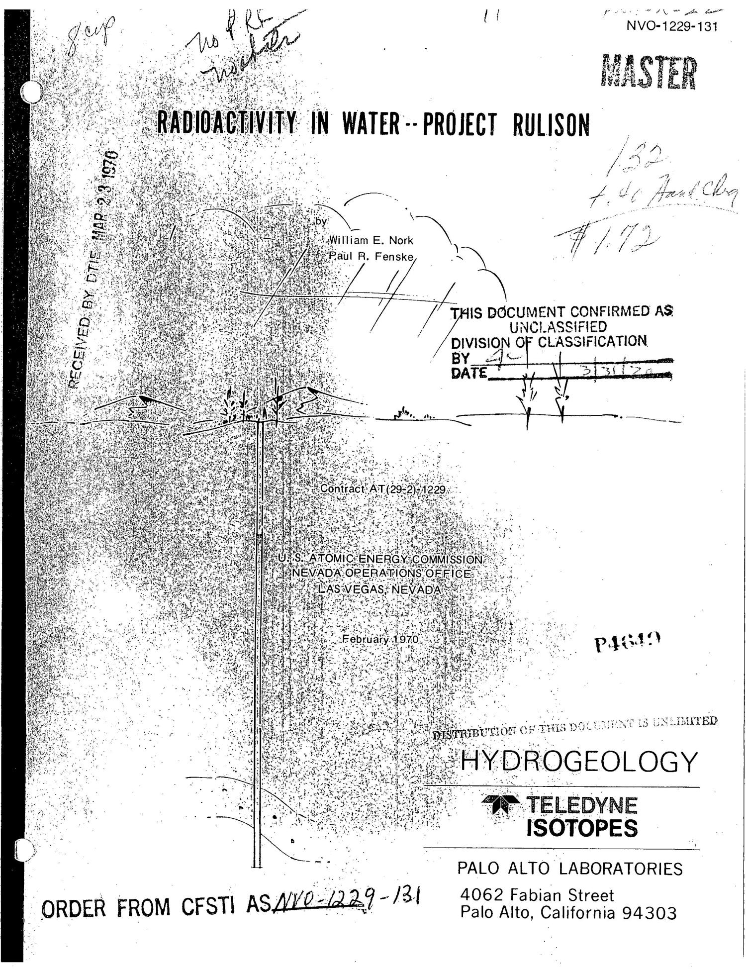 Radioactivity in Water: Project Rulison.                                                                                                      [Sequence #]: 1 of 25