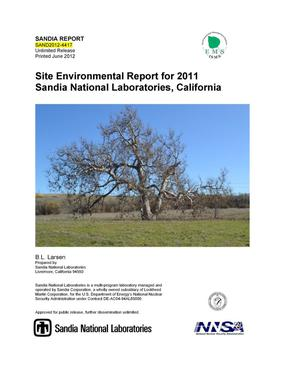 Primary view of object titled 'Site Environmental Report SNL/CA 2011.'.