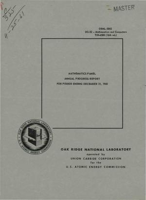 Primary view of object titled 'MATHEMATICS PANEL ANNUAL PROGRESS REPORT FOR PERIOD ENDING DECEMBER 31, 1960'.