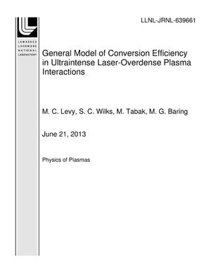 Primary view of object titled 'General Model of Conversion Efficiency in Ultraintense Laser-Overdense Plasma Interactions'.