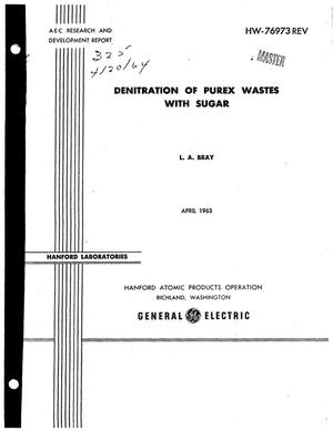 Primary view of object titled 'DENITRATION OF PUREX WASTES WITH SUGAR'.