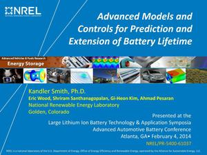 Primary view of object titled 'Advanced Models and Controls for Prediction and Extension of Battery Lifetime (Presentation)'.