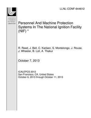 Primary view of object titled 'Personnel And Machine Protection Systems In The National Ignition Facility (NIF) *'.
