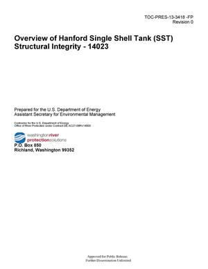 Primary view of object titled 'Overview of Hanford Single Shell Tank (SST) Structural Integrity - 14023'.