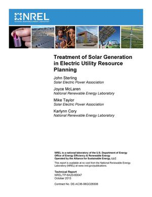 Primary view of object titled 'Treatment of Solar Generation in Electric Utility Resource Planning'.