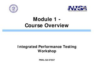 Primary view of object titled 'Integrated Performance Testing for Nonproliferation Support Project'.