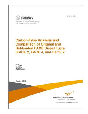 Primary view of object titled 'Carbon-Type Analysis and Comparison of Original and Reblended FACE Diesel Fuels (FACE 2, FACE 4, and FACE 7)'.