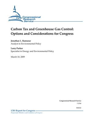 Carbon Tax and Greenhouse Gas Control: Options and Considerations for Congress