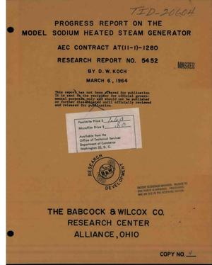 Primary view of object titled 'PROGRESS REPORT ON THE MODEL SODIUM-HEATED STEAM GENERATOR. Research Report No. 5452'.