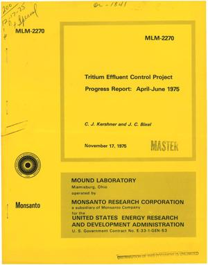 Primary view of object titled 'Tritium effluent control project. Progress report, April--June 1975'.