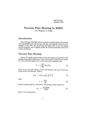 Primary view of object titled 'Vacuum Pipe Heating in RHIC'.