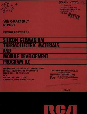 Primary view of object titled 'SILICON GERMANIUM THERMOELECTRIC MATERIALS AND MODULE DEVELOPMENT PROGRAM. Quarterly Progress Report No. 9, January 1, 1970-March 31, 1970.'.