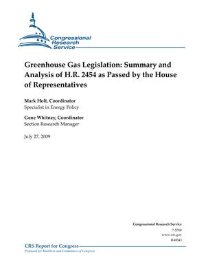 Greenhouse Gas Legislation: Summary and Analysis of H.R. 2454 as Passed by the House of Representatives