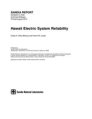 Primary view of object titled 'Hawaii Electric System Reliability.'.