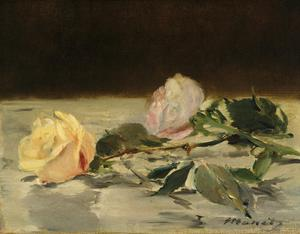 Primary view of object titled 'Two Roses on a Tablecloth'.