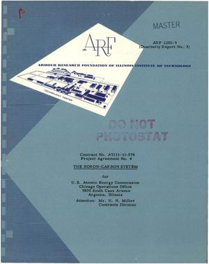 Primary view of object titled 'The Boron-Carbon System. Quarterly Report No. 3, November 1, 1960-January 31, 1961'.