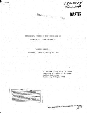 Primary view of object titled 'BIOCHEMICAL STUDIES ON THE OCULAR LENS IN RELATION TO CATARACTOGENESIS. Progress Report No. 4, December 1, 1968--January 31, 1970.'.