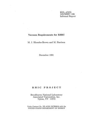 Primary view of object titled 'Vacuum Requirements for RHIC'.
