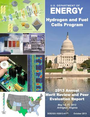Primary view of object titled 'U.S. Department of Energy Hydrogen and Fuel Cells Program, 2013 Annual Merit Review and Peer Evaluation Report (Book)'.
