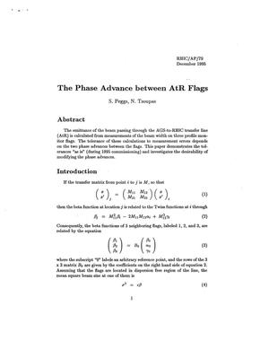 Primary view of object titled 'The Phase Advance Between AtR Flags'.