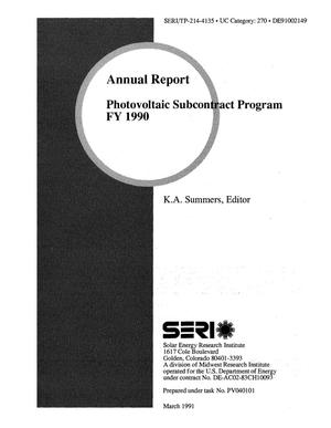 Primary view of object titled 'Annual Report: Photovoltaic Subcontract Program FY 1990'.