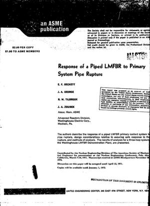 Primary view of object titled 'Response of a Piped Lmfbr to Primary System Pipe Rupture.'.
