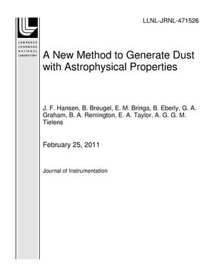 Primary view of object titled 'A New Method to Generate Dust with Astrophysical Properties'.