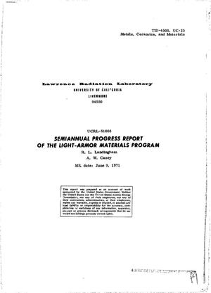 Primary view of object titled 'Semiannual Progress Report of the Light-Armor Materials Program.'.