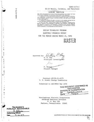 Primary view of object titled 'SODIUM TECHNOLOGY PROGRAM. Quarterly Progress Report for the Period Ending March 31, 1970.'.